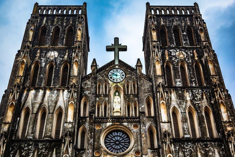 La cattedrale di St Joseph, punto di riferimento di Hanoi, Vietnam immagini stock