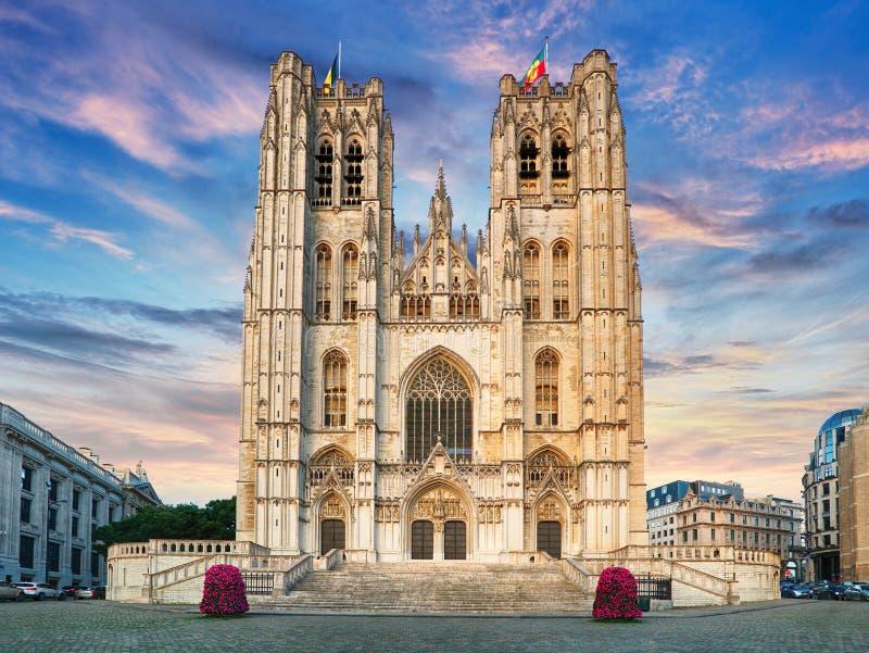 La cattedrale di St Michael e della st Gudula è un chur di Roman Catholic immagini stock libere da diritti