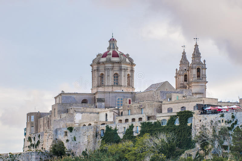 La cattedrale di St Paul in Mdina, Malta fotografie stock libere da diritti