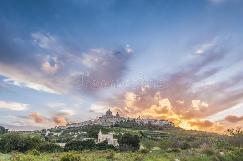 La cattedrale di St Paul in Mdina, Malta immagine stock libera da diritti