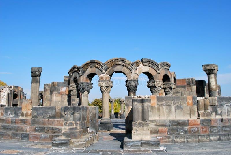 La cattedrale di Zvartnots in Armenia immagine stock libera da diritti