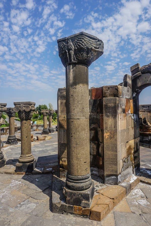 La cattedrale di Zvartnots rovina la colonna immagini stock libere da diritti