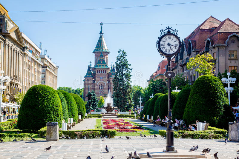 La cattedrale situata in Timisoara, molto vecchio ma molto bello immagine stock