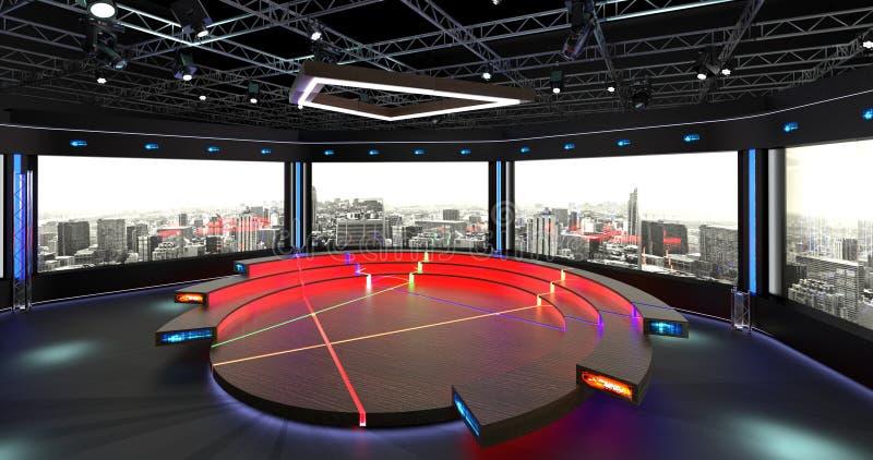 La causerie virtuelle de studio de TV a placé 2 le fond 1 illustration de vecteur
