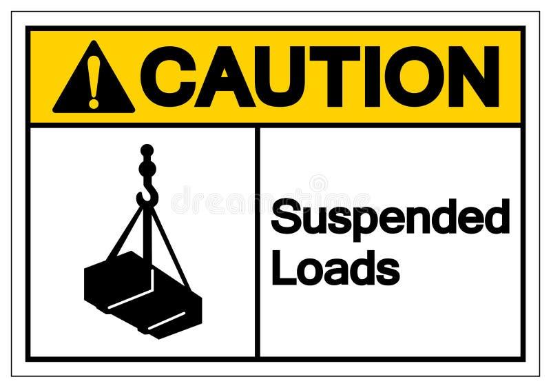 La cautela ha sospeso il segno di simbolo dei carichi, illustrazione di vettore, isolata sull'etichetta bianca del fondo EPS10 illustrazione di stock