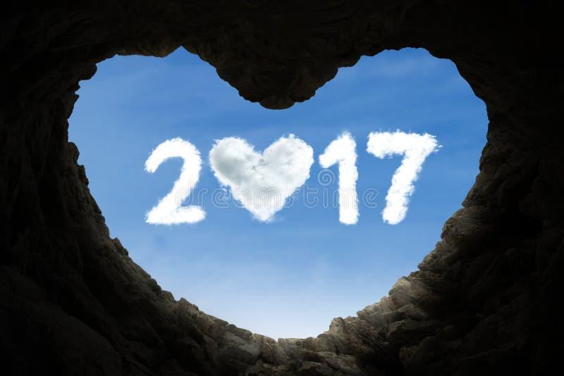 La caverna e numera 2017 in pieno di amore immagini stock libere da diritti