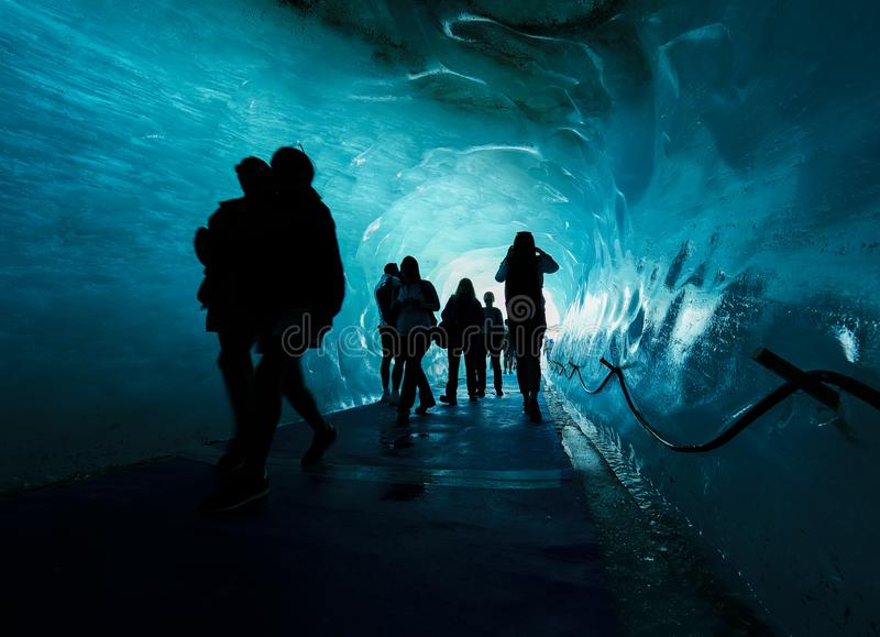 La caverne de glacier de Mer de Glace, Chamonix, France photo stock