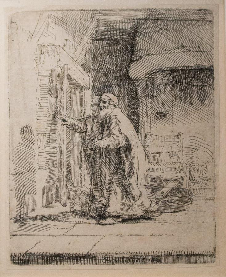 La ceguera de Tobit a partir de 1651 por Rembrandt ilustración del vector