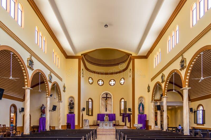 View at the inerior Cathedral of San Isidoro in La Ceiba - Honduras. LA CEIBA,HODURAS - MARCH 12,2019 - View at the inerior Cathedral of San Isidoro in La Ceiba stock photography