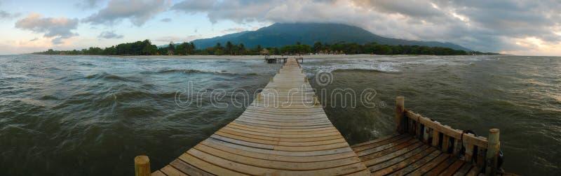 La Ceiba Honduras. Panoramic view On the Quay of the La ceiba beach, Hoduras stock photo