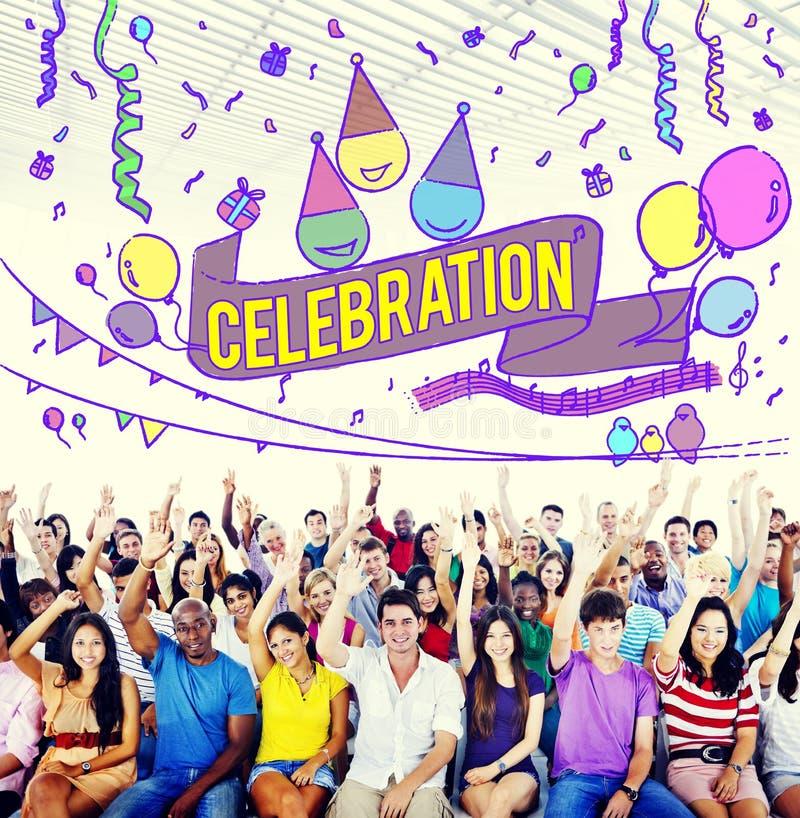 La celebración celebra concepto del Social del evento del aniversario imágenes de archivo libres de regalías