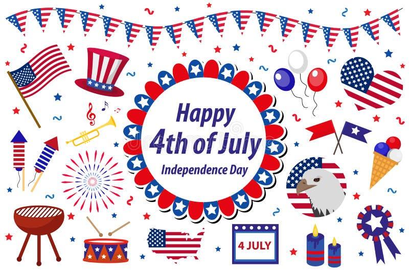 La celebración de América del Día de la Independencia en los E.E.U.U., iconos fijó, elemento del diseño, estilo plano Objetos col ilustración del vector
