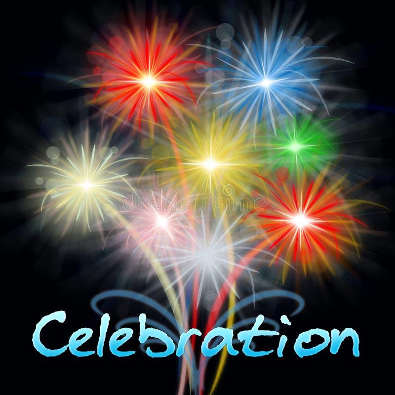 La celebración de los fuegos artificiales muestra el partido del fuego artificial que celebra Pyrotechn libre illustration