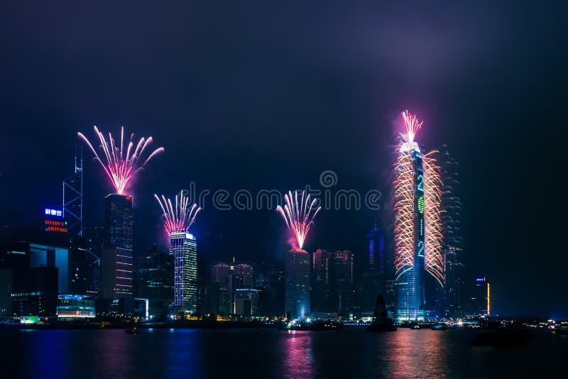 La celebración del Año Nuevo 2012 en Hong-Kong imagen de archivo libre de regalías