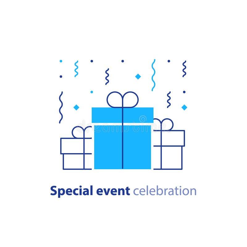 La celebración del aniversario, enhorabuena del feliz cumpleaños, grupo de tres cajas de regalo de la sorpresa, confeti que cae,  ilustración del vector