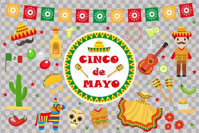 La celebrazione di Cinco de Mayo nel Messico, icone ha messo, elemento di progettazione, stile piano Oggetti della raccolta per l immagini stock