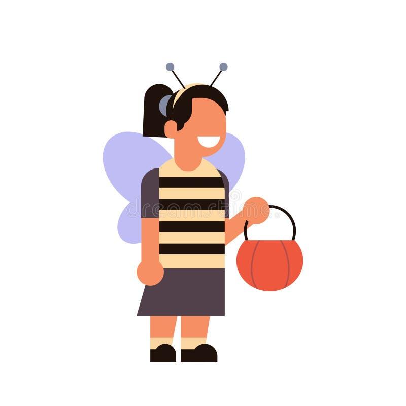 La celebrazione felice del partito di concetto di Halloween della ragazza di usura del costume sveglio dell'ape ha isolato il per illustrazione di stock