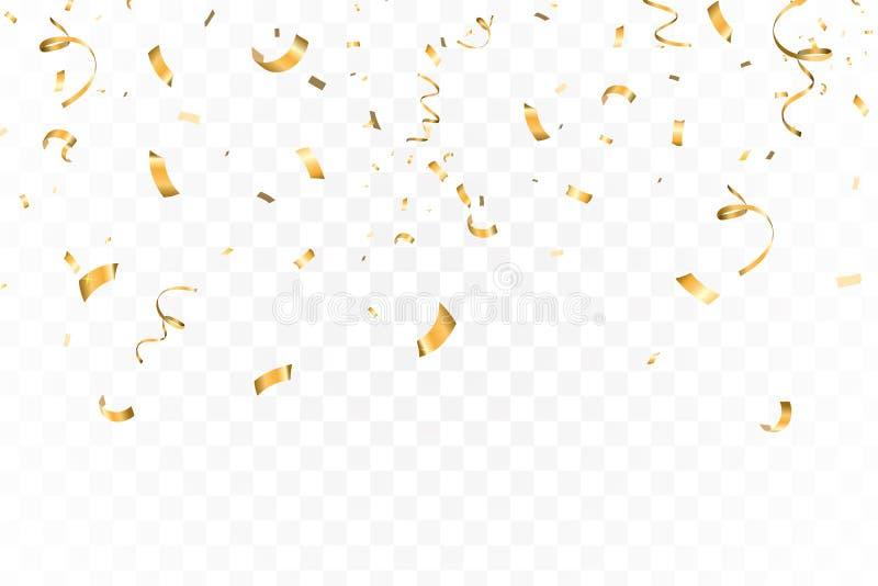 La celebrazione luminosa di caduta dei coriandoli di scintillio dell'oro, serpeggia isolato su fondo trasparente Nuovo anno, comp illustrazione di stock