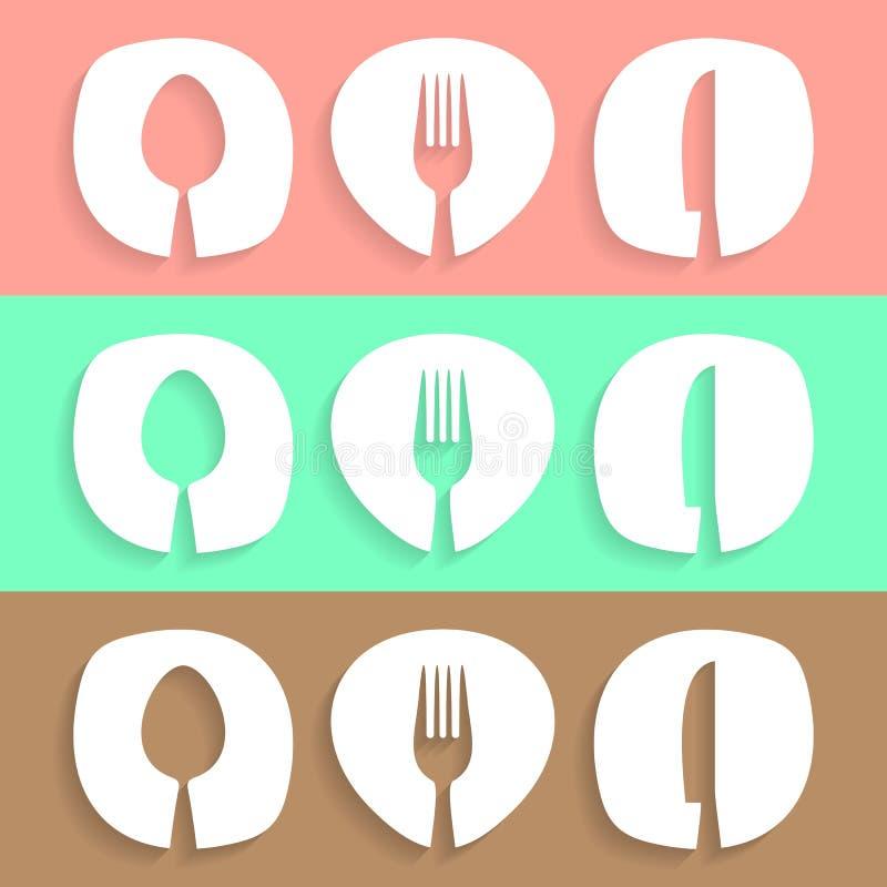 La cena de boda con la carne del rodillo fumó y los tomates stock de ilustración