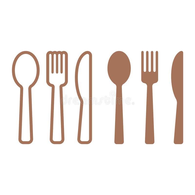 La cena del icono plano de los cubiertos fijó con la cuchara, el cuchillo y la bifurcación stock de ilustración
