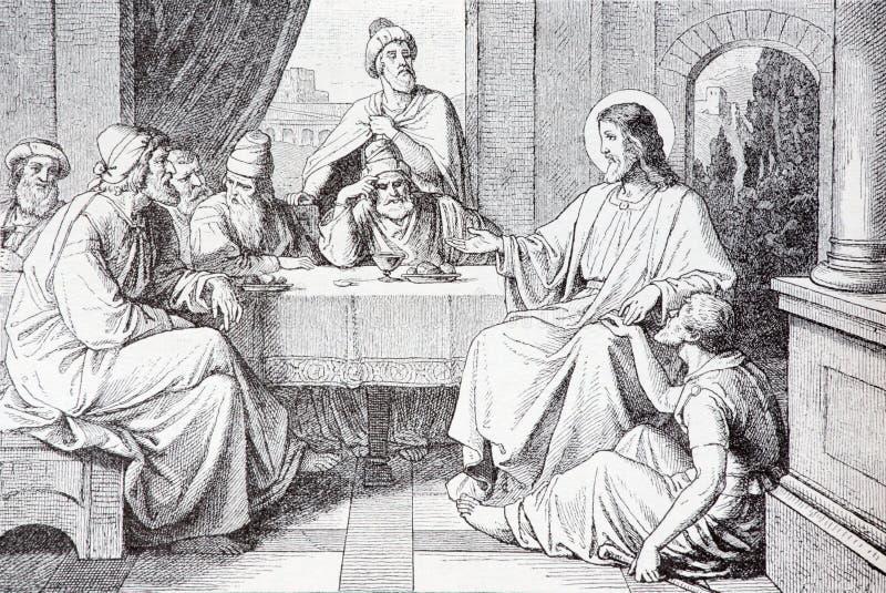 La cena en la casa de la litografía de Simon Pharisee imágenes de archivo libres de regalías