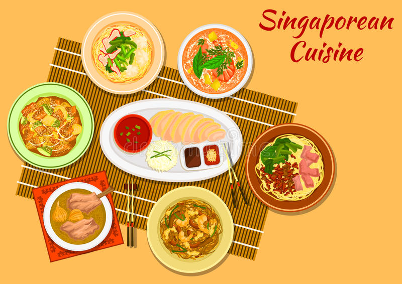 La cena popolare di cucina di Singapore serve l'icona illustrazione di stock