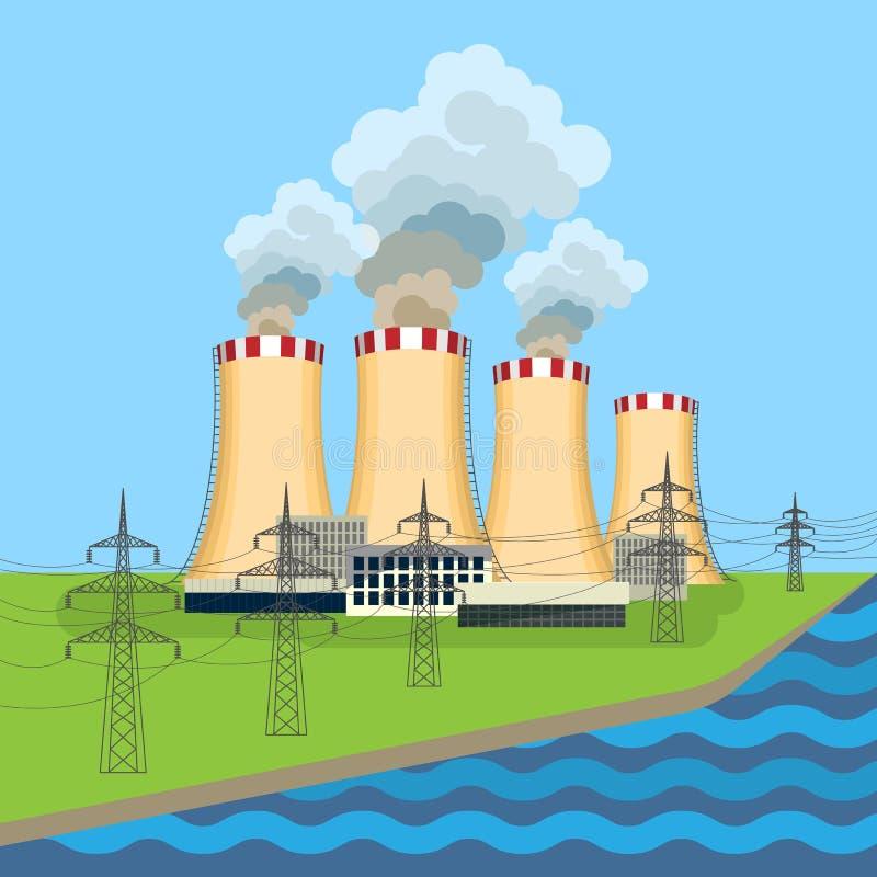 La central nuclear de trabajo cerca de la torre fijó a lo largo del río que fluía stock de ilustración