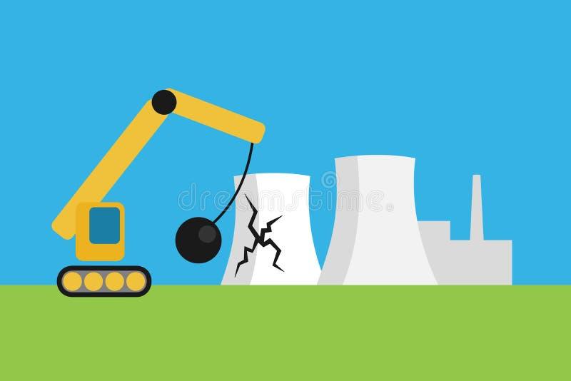 La central nuclear elimina ilustración del vector