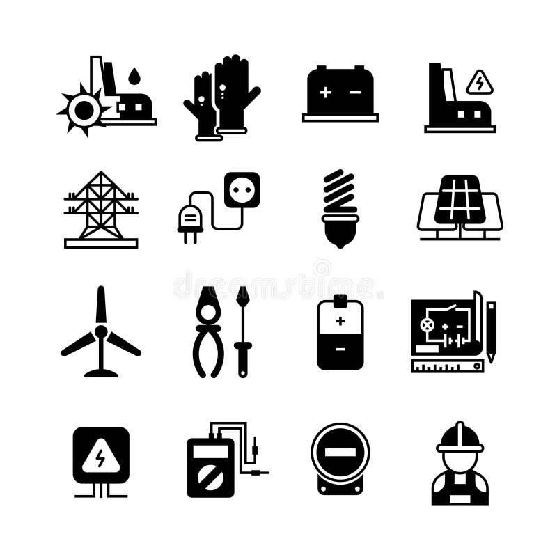 La centrale électrique, l'électricité, les outils électroniques dirigent des icônes illustration libre de droits