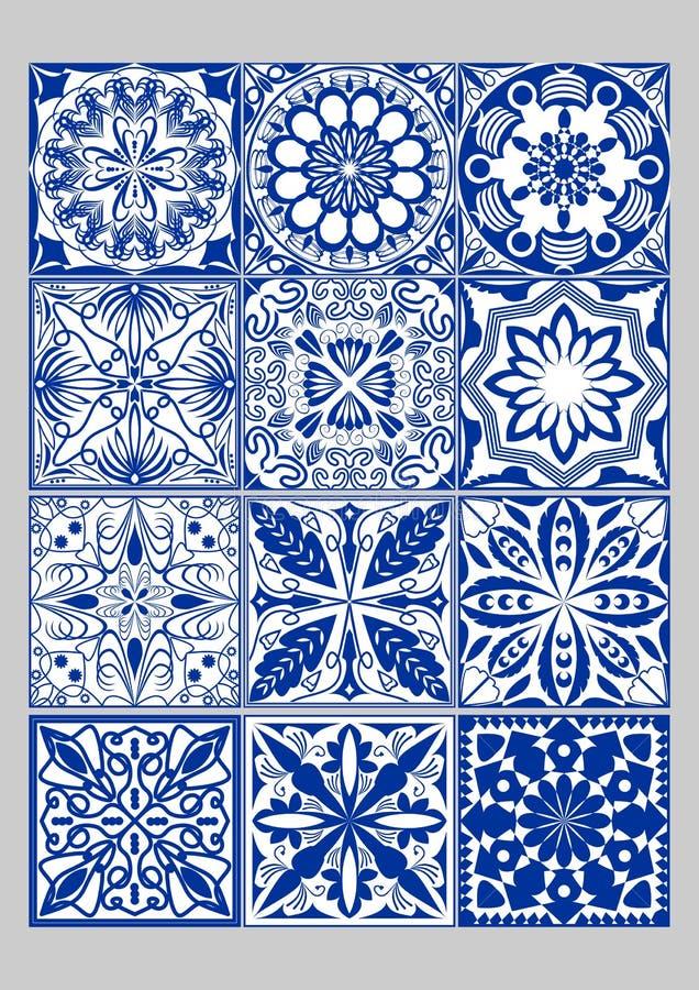 La cerámica de la mayólica teja el sistema mega, los azulejos azules y blancos, decoración original del portugués y de España stock de ilustración
