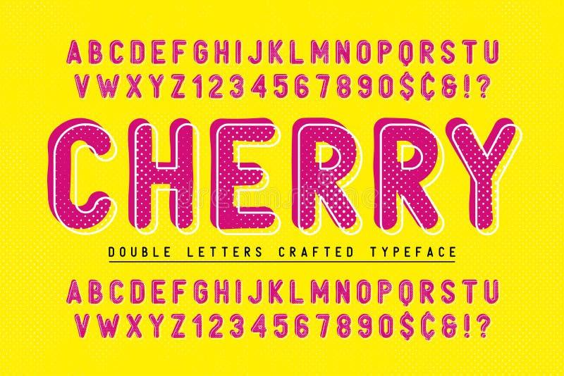 La cereza condensó el diseño del popart de la fuente de la exhibición, alfabeto libre illustration