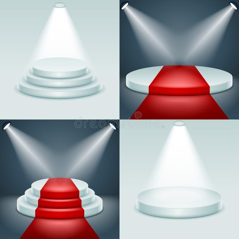 La cerimonia di premiazione stabilita del podio della fase ha illuminato l'illustrazione realistica di vettore di progettazione 3 illustrazione di stock