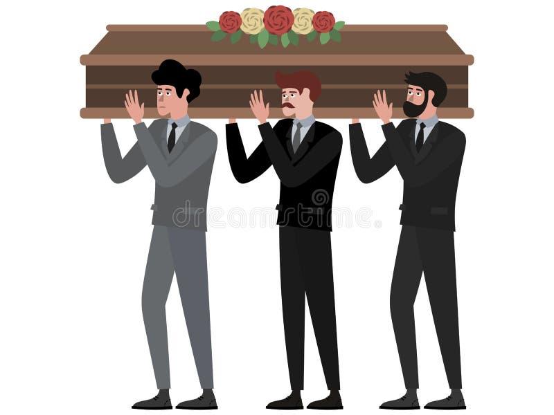 La cerimonia funerea, uomini porta la bara Nel vettore piano del fumetto minimalista di stile, isolato su fondo bianco royalty illustrazione gratis