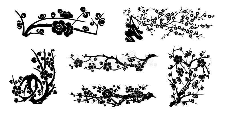 La cerise de vecteur fleurit la collection illustration libre de droits