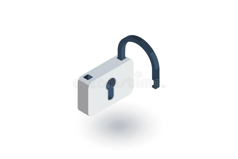 La cerradura abierta, contraseña, tiene acceso al icono plano isométrico vector 3d stock de ilustración