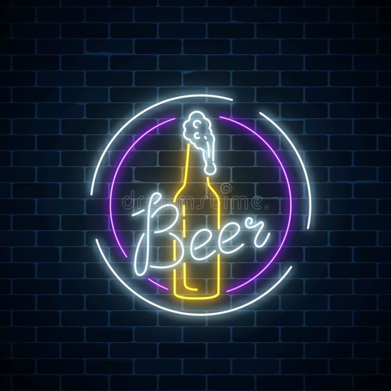 La cerveza de neón que brilla intensamente barra el letrero en marcos redondos en fondo oscuro de la pared de ladrillo Muestra de stock de ilustración