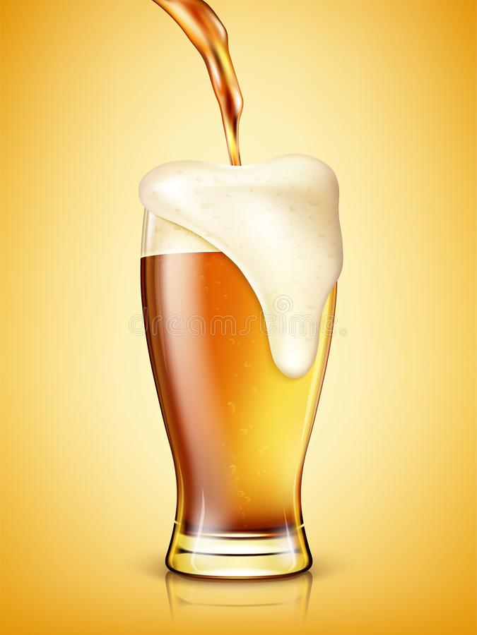 La cerveza está vertiendo en un vidrio stock de ilustración