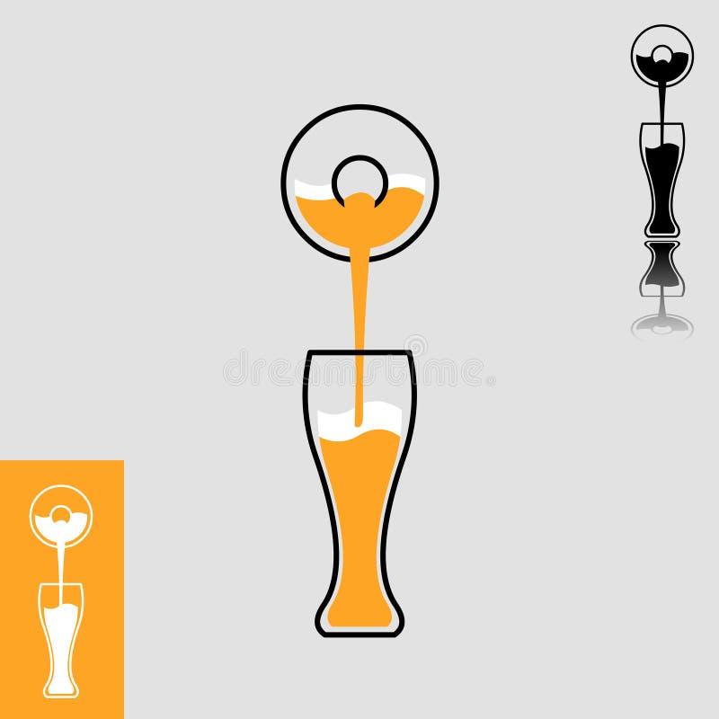 La cerveza simple vierte de la botella al icono de cristal stock de ilustración