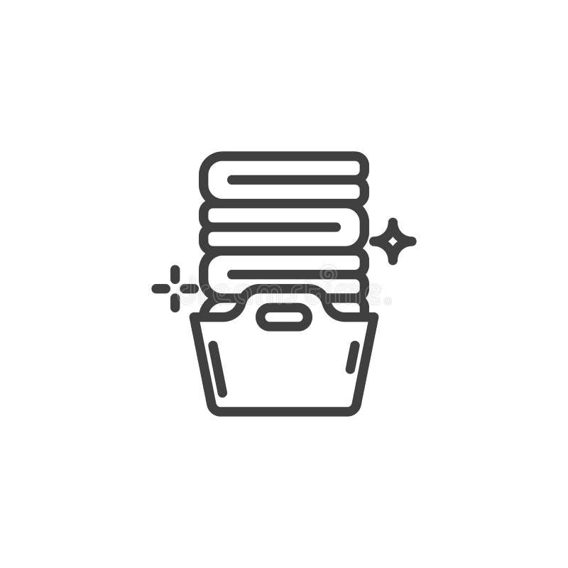 La cesta con las toallas dobladas alinea el icono ilustración del vector
