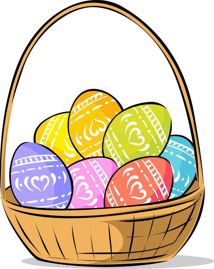 La cesta con Pascua pintó el ejemplo del vector del huevo ilustración del vector