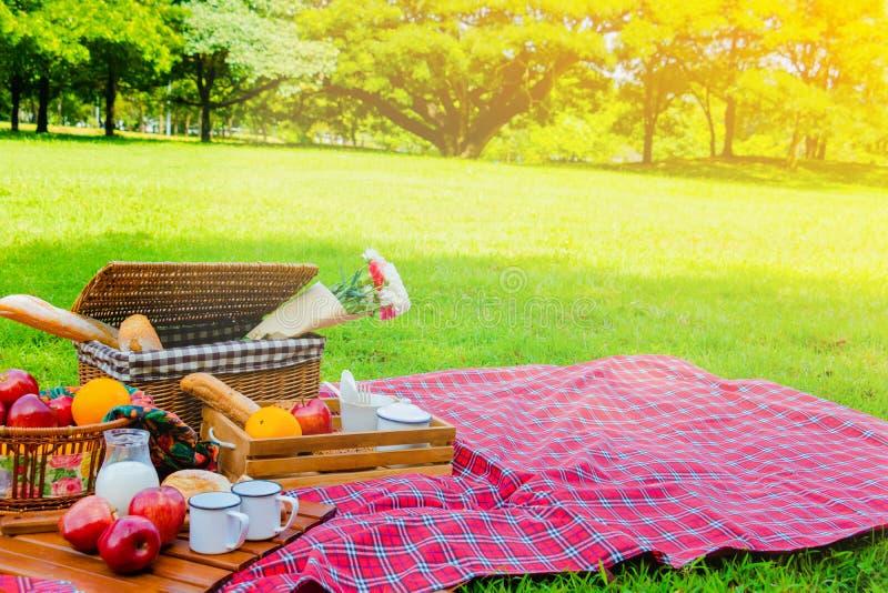 La cesta de la comida campestre tiene mucha comida en hierba verde foto de archivo libre de regalías