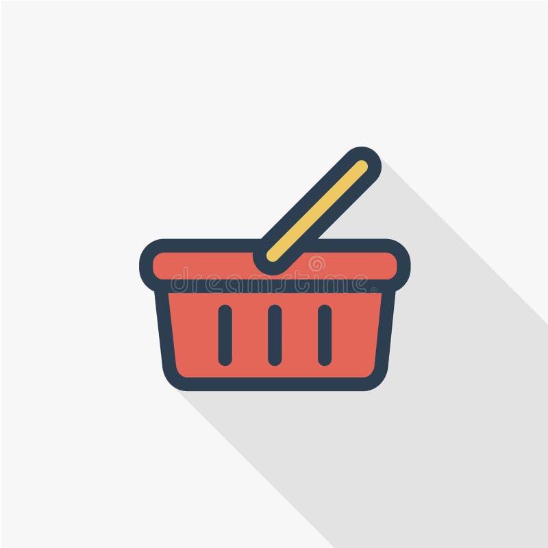 La cesta de comida, compras, oferta especial, vector la línea plana diseño del icono ilustración del vector
