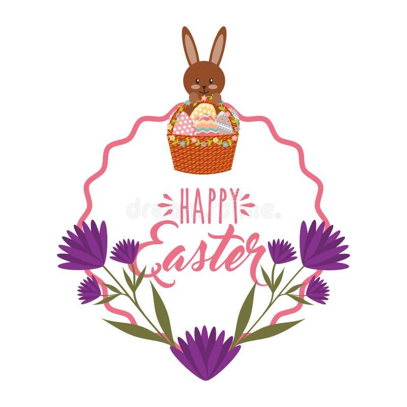 La cesta linda del conejito eggs las flores y la decoración púrpuras del marco libre illustration