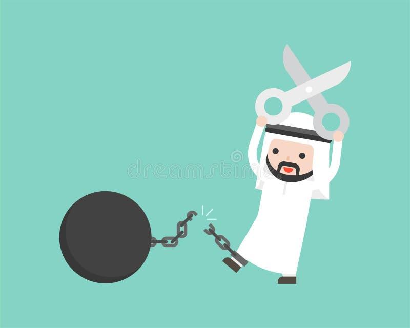 La chaîne arabe de coupe de ciseaux d'utilisation d'homme d'affaires de la boule de fer, a libéré illustration de vecteur
