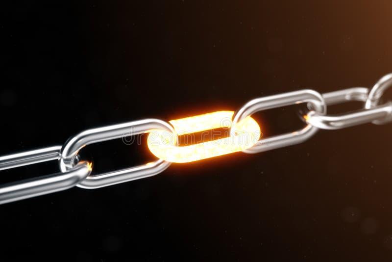 La chaîne en métal est reliée au lien d'un rouge ardent, concept de puissance illustration 3D illustration de vecteur