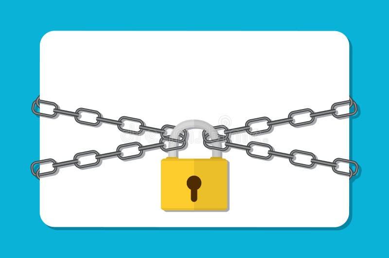 La chaîne et le cadenas gris, illustration stock