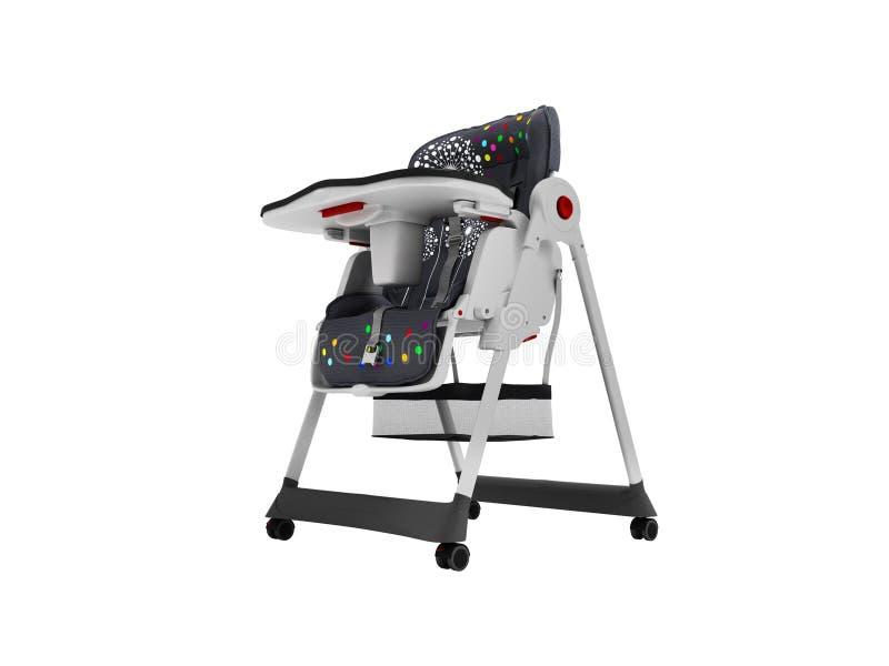 La chaise d'alimentation de bébé avec les ancrages doux 3d de literie et de sécurité ne rendent sur le fond blanc aucune ombre illustration libre de droits
