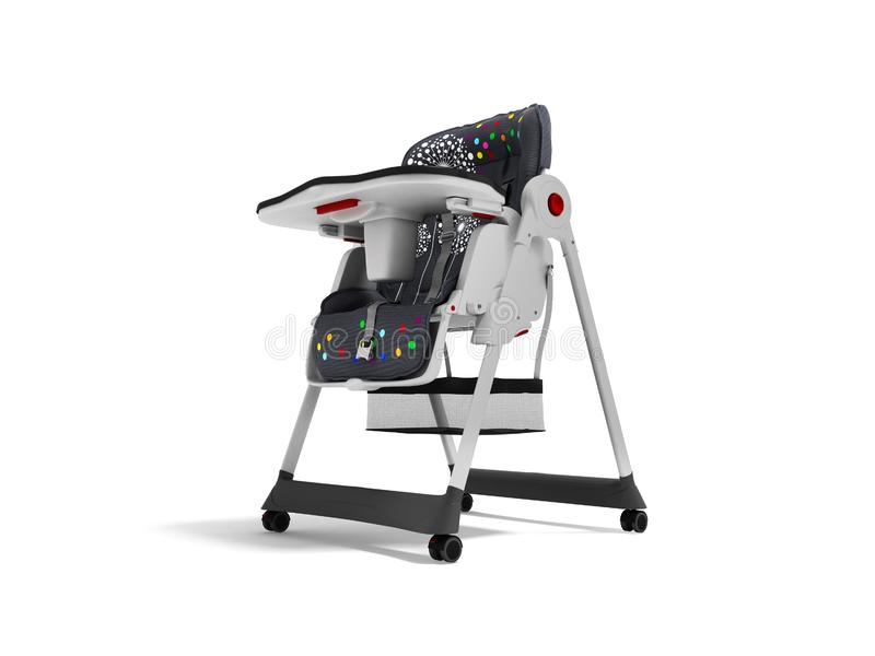 La chaise d'alimentation de bébé avec les ancrages doux 3d de literie et de sécurité rendent sur le fond blanc avec l'ombre illustration de vecteur