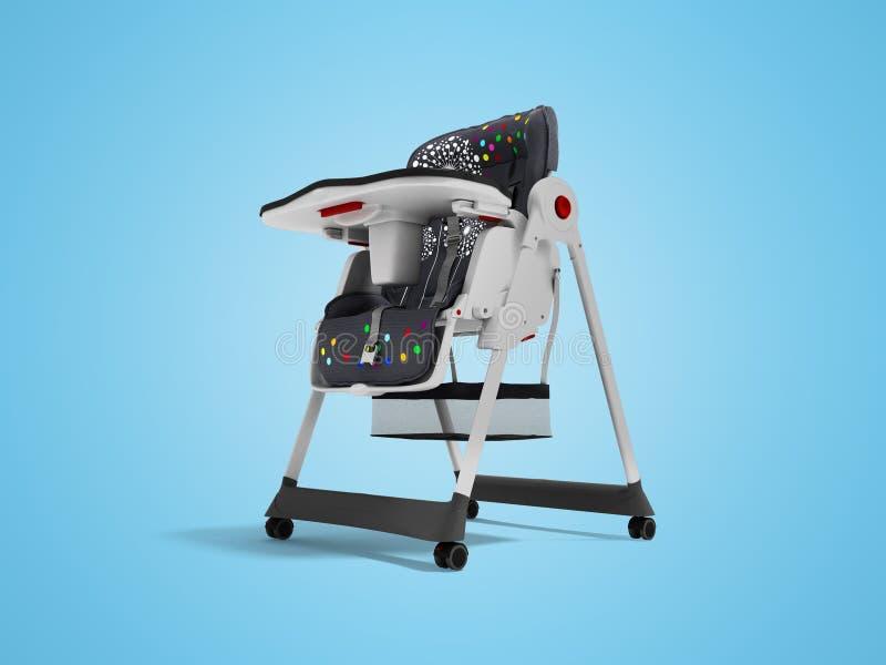 La chaise d'alimentation de bébé avec les ancrages doux 3d de literie et de sécurité rendent sur le fond bleu avec l'ombre illustration stock