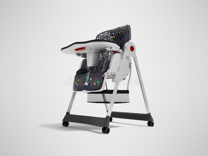 La chaise d'alimentation de bébé avec les ancrages doux 3d de literie et de sécurité rendent sur le fond gris avec l'ombre illustration stock